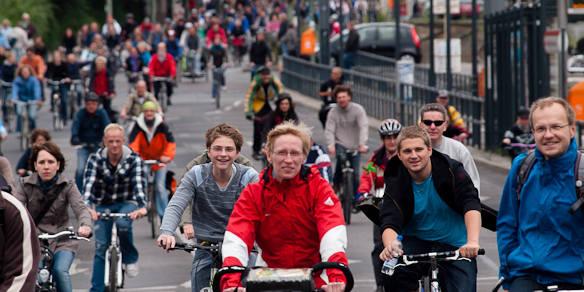 Radfahrer in einer Demonstration