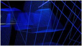 Eine Installation aus blauen Fäden wird von UV Licht beleuchtet