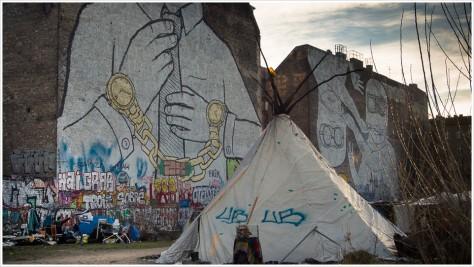 Zeltlager auf der Cuvrybrache an der Schlesischen Straße in Kreuzberg - Foto: h|b