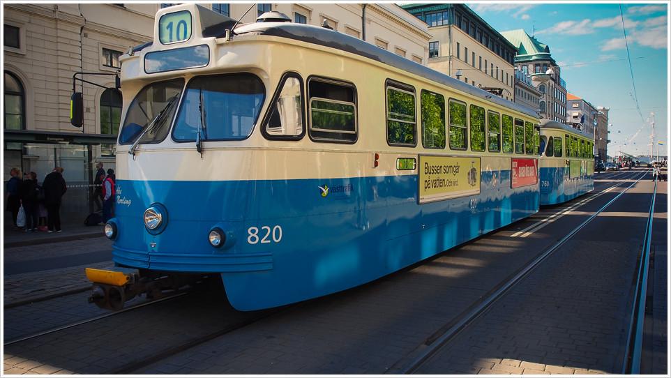 Schwedische Straßenbahn in der Hafenstadt Göteborg