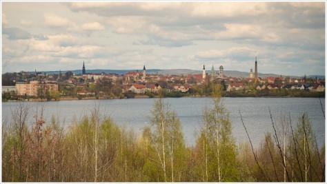 Blick auf Zittau über den Olbersdorfer See
