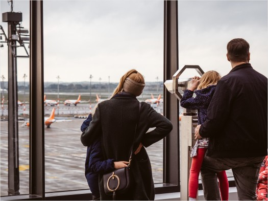 Ausblick von der Besucherterrasse des BER